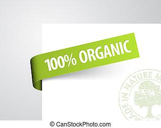 étiquette, papier, article, vert, organique