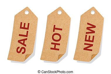 étiquette, papier, conception, onglet, recycler, promotion