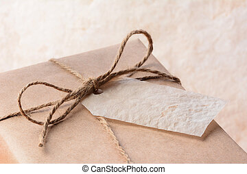 étiquette, papier, paquet, emballé, brun, cadeau