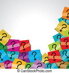 étiquette, question, coloré, marque