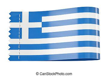 étiquette, rendre, drapeau, étiquette, greece., habillement, 3d