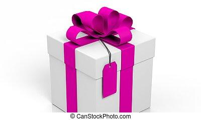 étiquette, ruban, isolé, boîte-cadeau, vide, rose, blanc