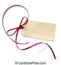 étiquette, ruban, rouges, cadeau, vide