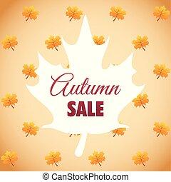 étiquette, saisonnier, érable, vente, forme, feuille automne