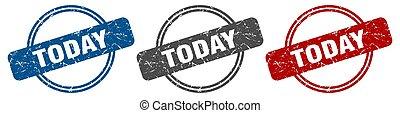 étiquette, signe., aujourd'hui, stamp., ensemble