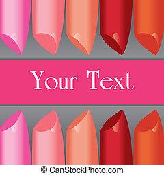 étiquette, vecteur, planche, coloré, rouge lèvres