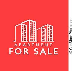 étiquette, vente, appartement, conception, :