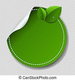 étiquette, vert, isolé, fond, transparent
