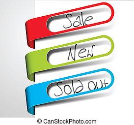 étiquettes, articles, vendu, vente, papier, nouveau, dehors