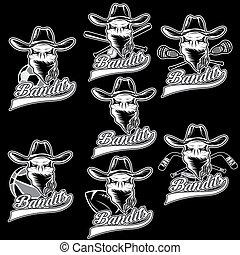 étiquettes, bandit, ensemble, crâne, sports