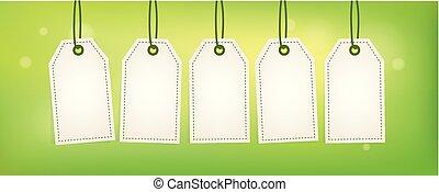 étiquettes, blanc, ensemble, arrière-plan vert