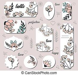 étiquettes, cerise, différent, ensemble, flowers.