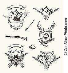 étiquettes, chasse, ensemble, conçu, insignes, emblèmes, éléments
