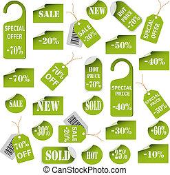 étiquettes, coût, ensemble, vert, étiquettes