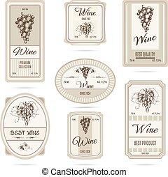 étiquettes, collection, vin