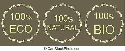 étiquettes, conception, naturel, vert, ton