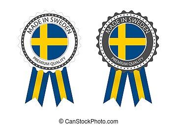 étiquettes, conception, vecteur, drapeau suède, autocollants, qualité, fond blanc, fait, isolé, simple, moderne, deux, prime, suédois, timbre, couleurs