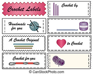 étiquettes, couture, crochet