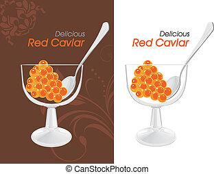étiquettes, délicieux, rouges, caviar.