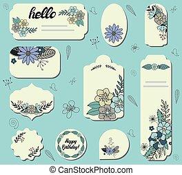 étiquettes, différent, ensemble, flowers.