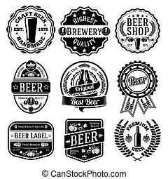 étiquettes, emblems., bière, ensemble, vecteur