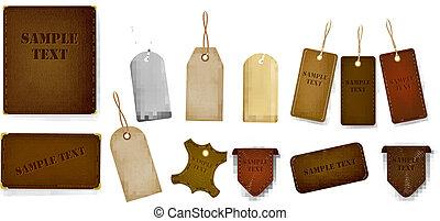 étiquettes, ensemble, étiquettes, cuir, mega