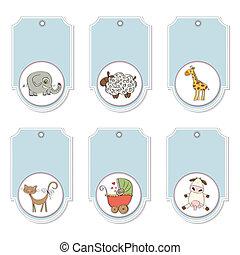 étiquettes, ensemble, animaux, dessin animé