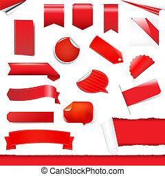 étiquettes, ensemble, autocollants, rouges