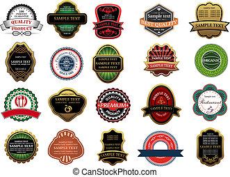 étiquettes, ensemble, bannières, insignes, vente au détail