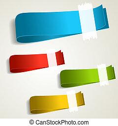 étiquettes, ensemble, coloré, étiquette