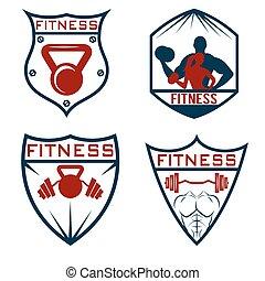 étiquettes, ensemble, fitness