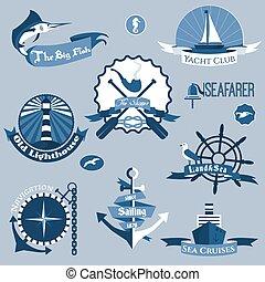 étiquettes, ensemble, mer