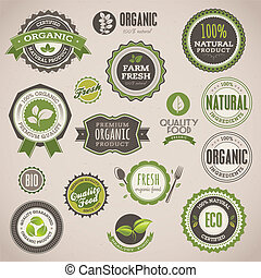 étiquettes, ensemble, organique, insignes