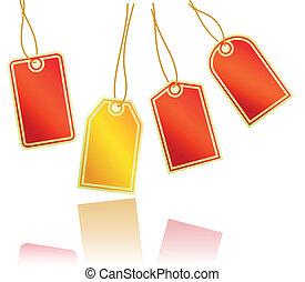 étiquettes, ensemble, rouges, or