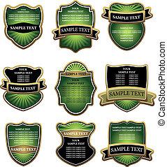 étiquettes, ensemble, vert, or