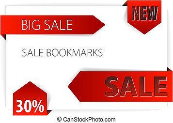 étiquettes, flèches, vente, /, papier, rouges