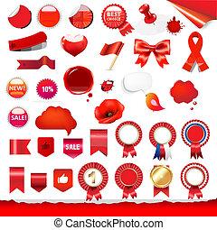 étiquettes, grand, ensemble, rubans, rouges