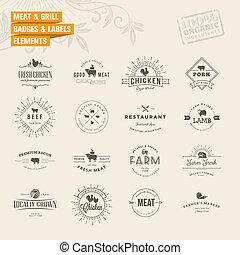étiquettes, gril, ensemble, viande