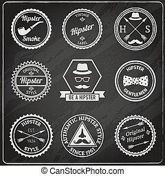 étiquettes, hipster, tableau