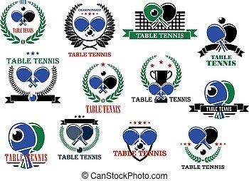étiquettes, icônes, sport, tennis, ensemble, table