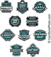 étiquettes, industrie, ensemble, retro, vente au détail