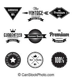 étiquettes, insignes, ensemble, retro, vendange