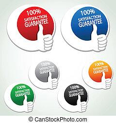 étiquettes, main, satisfaction, vecteur, geste, garantie
