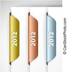 étiquettes, /, metalic, vecteur, autocollants, 2012