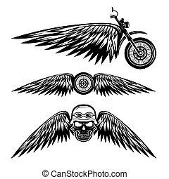 étiquettes, motard, thème, roue, crânes, ailes