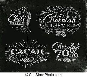 étiquettes, noir, collection, chocolat