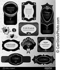 étiquettes, noir, or