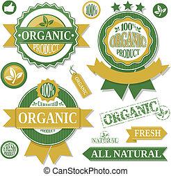 étiquettes, organique, vecteur, produits