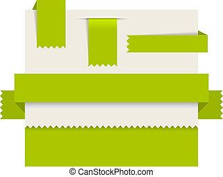 étiquettes, -, papier, vecteur, vert, rubans
