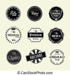étiquettes, prime, ensemble, qualité